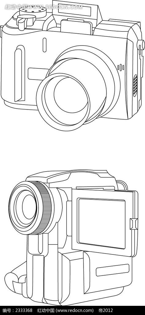 摄像机手绘线描画