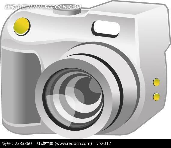 单反照相机手绘线描立体图形