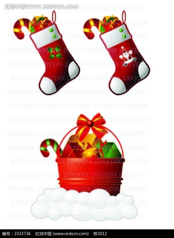 圣诞袜圣诞礼物手绘图形