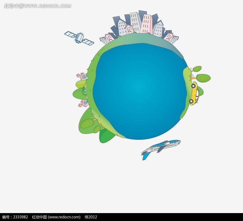 地球上的城市手绘画