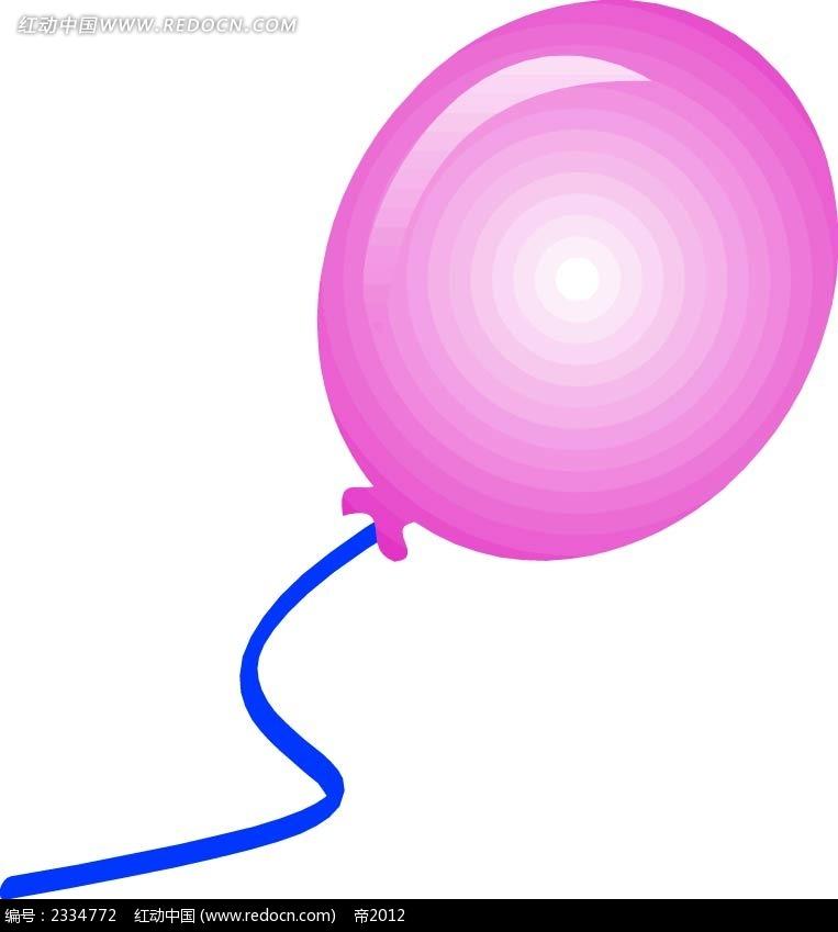 立体玫红色气球手绘画
