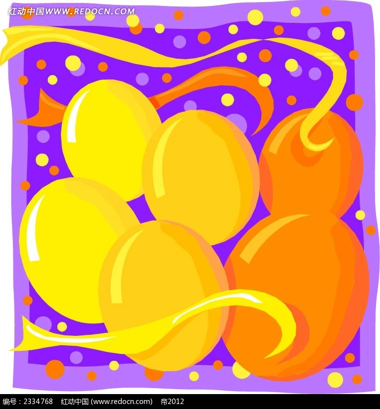 橙色气球彩带手绘画