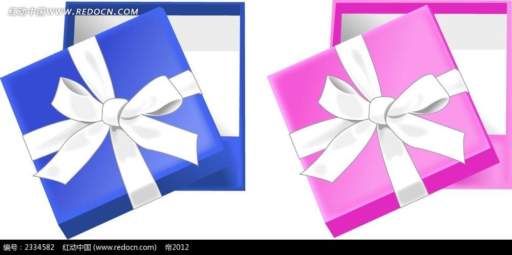打开的礼物盒手绘立体图形