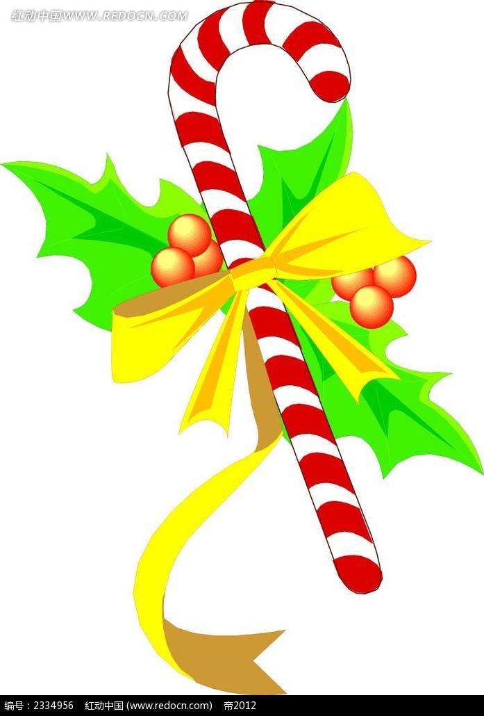 圣诞拐杖圣诞花手绘图