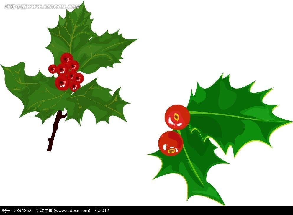 圣诞叶手绘立体图形
