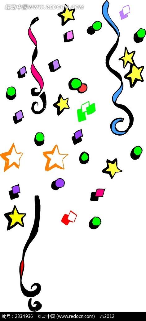 五角星彩带手绘立体画