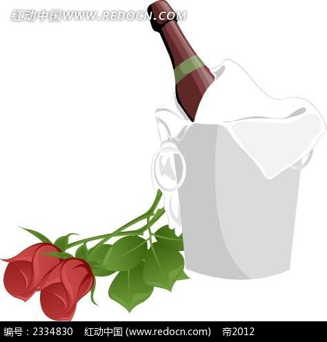 红酒玫瑰手绘画