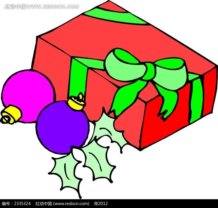 圣诞礼物圣诞球手绘线描画