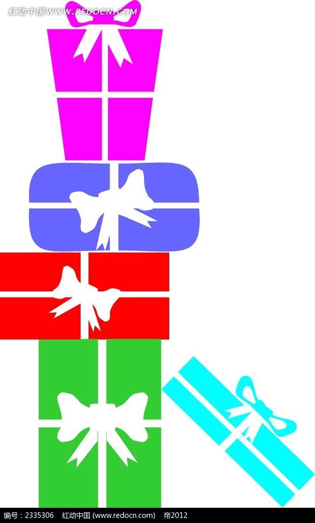 剪影礼物盒手绘图