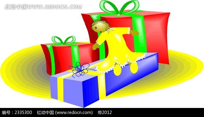 天使礼物盒手绘画