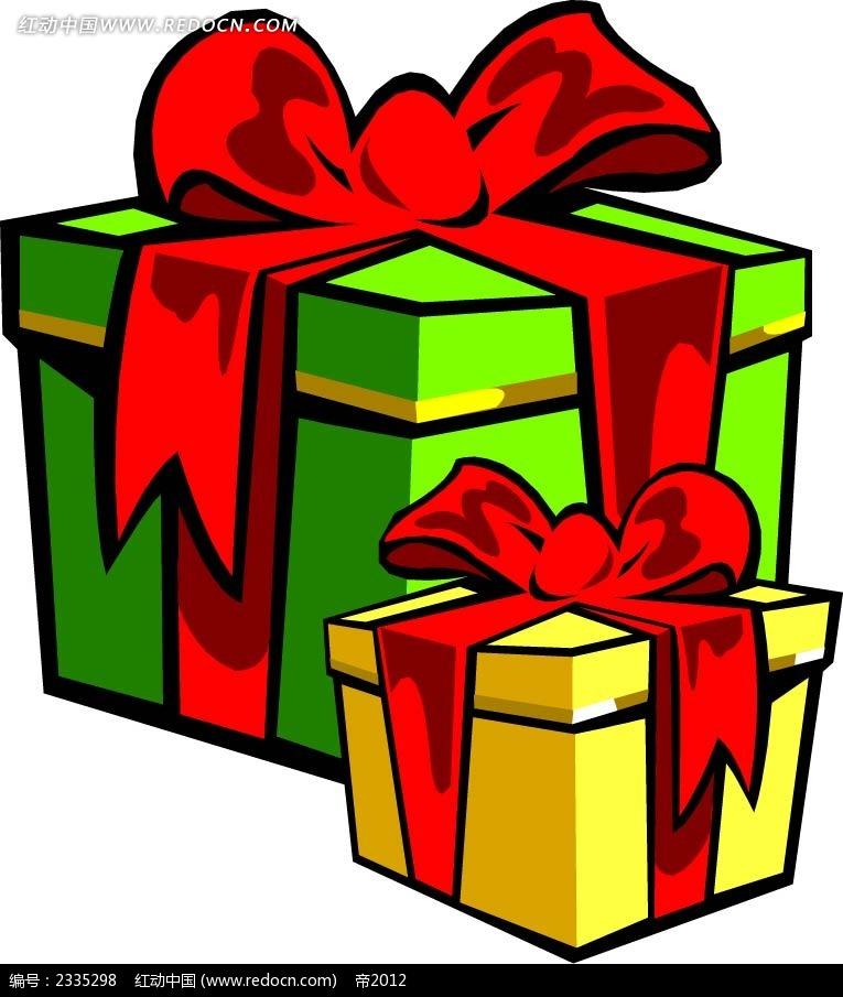 手绘黑边礼物盒 圣诞节 红动手机版