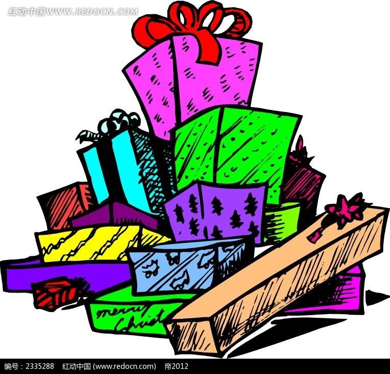 礼物盒几何图形手绘线描画