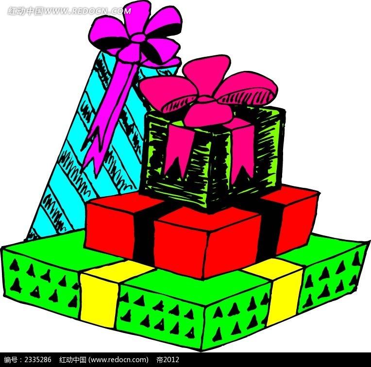 礼物盒  手绘画 线描画 水彩画 手绘图形 黑色边框画 背景画 图形图标