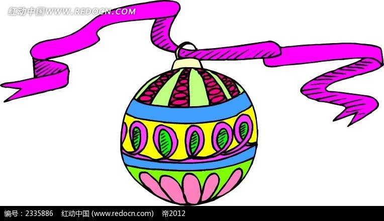 圣诞球彩带手绘画