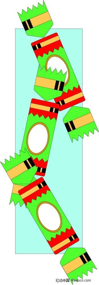 圣诞绿色糖果手绘画
