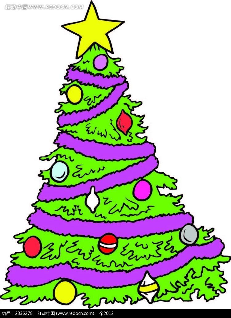 圣诞树圣诞球手绘线描画