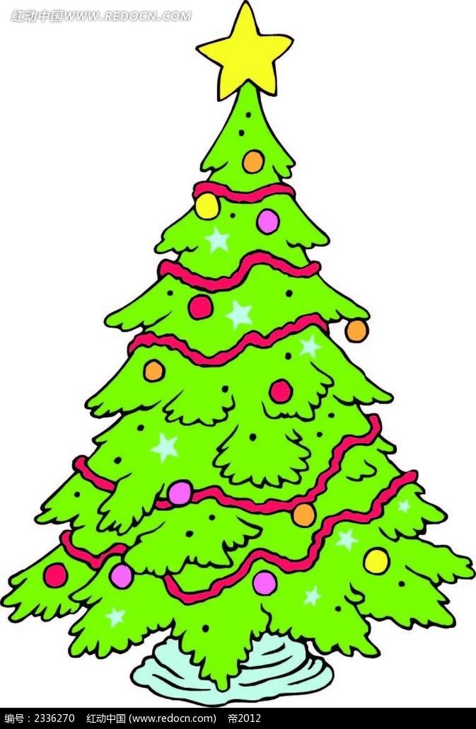 > 圣诞树圣诞彩带手绘画  圣诞树圣诞彩带手绘画  手绘画 线描画 水彩