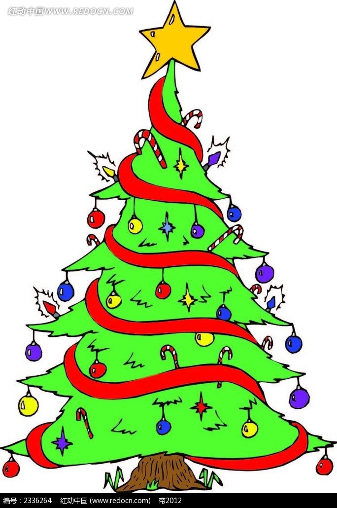圣诞树彩带手绘画