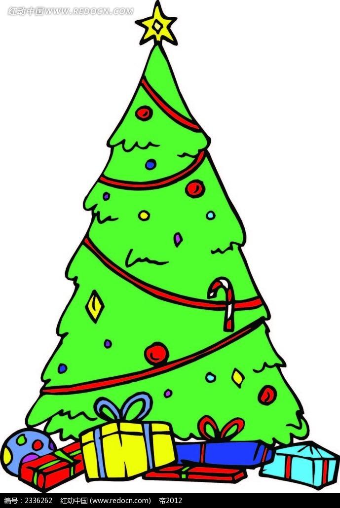 圣诞树圣诞礼物手绘画