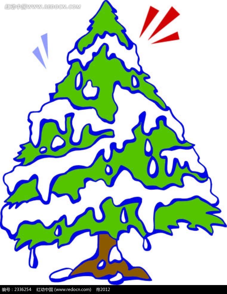 雪景圣诞树手绘画