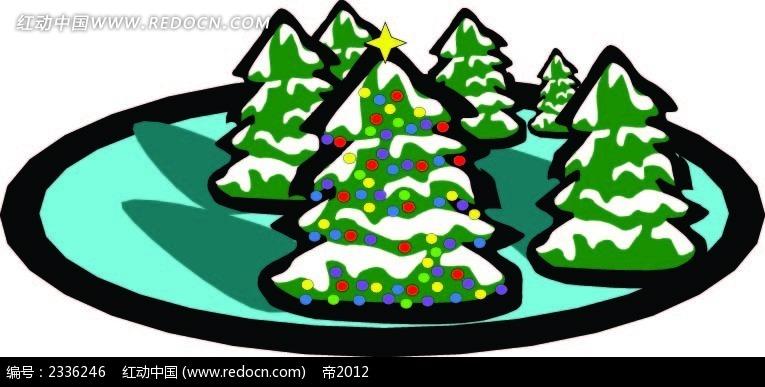 带雪的圣诞树手绘背景画