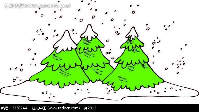 圣诞树雪花背景手绘线描图