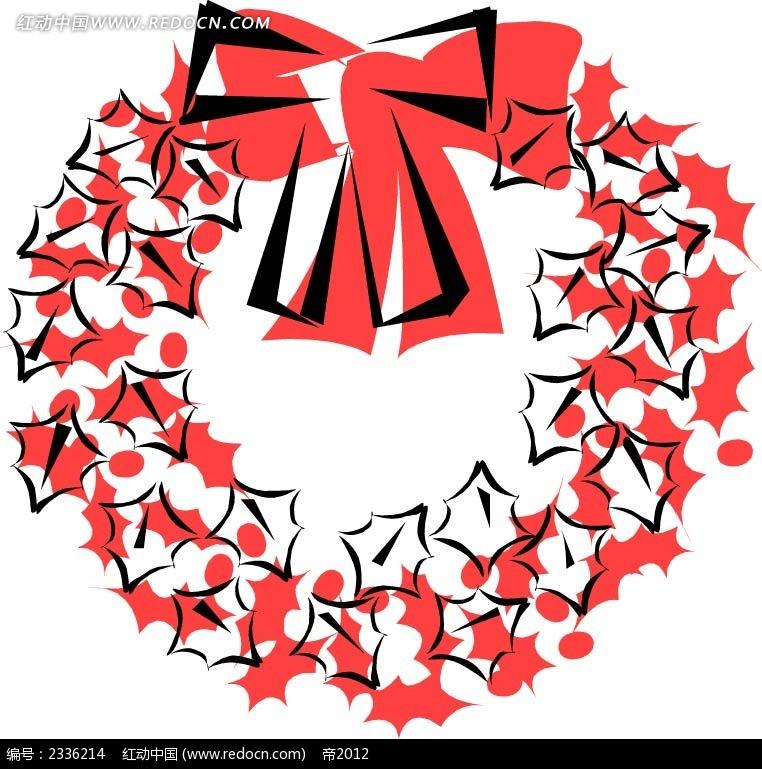 几何手绘圣诞花圈
