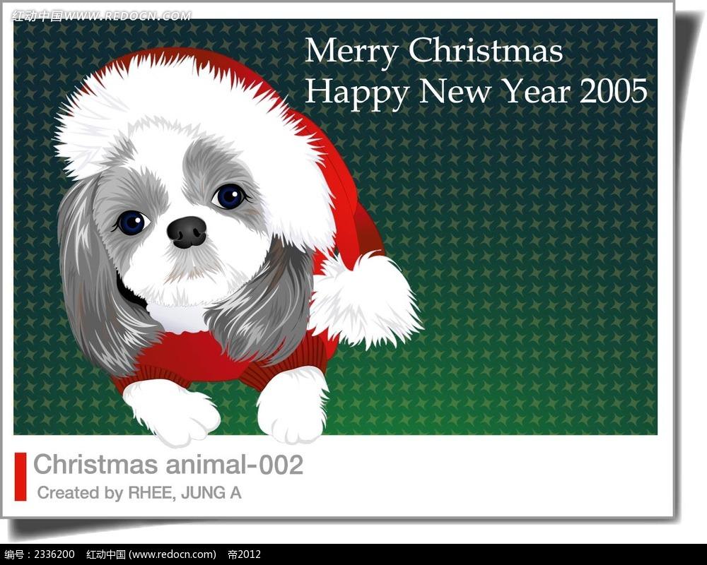 圣诞小狗手绘背景画