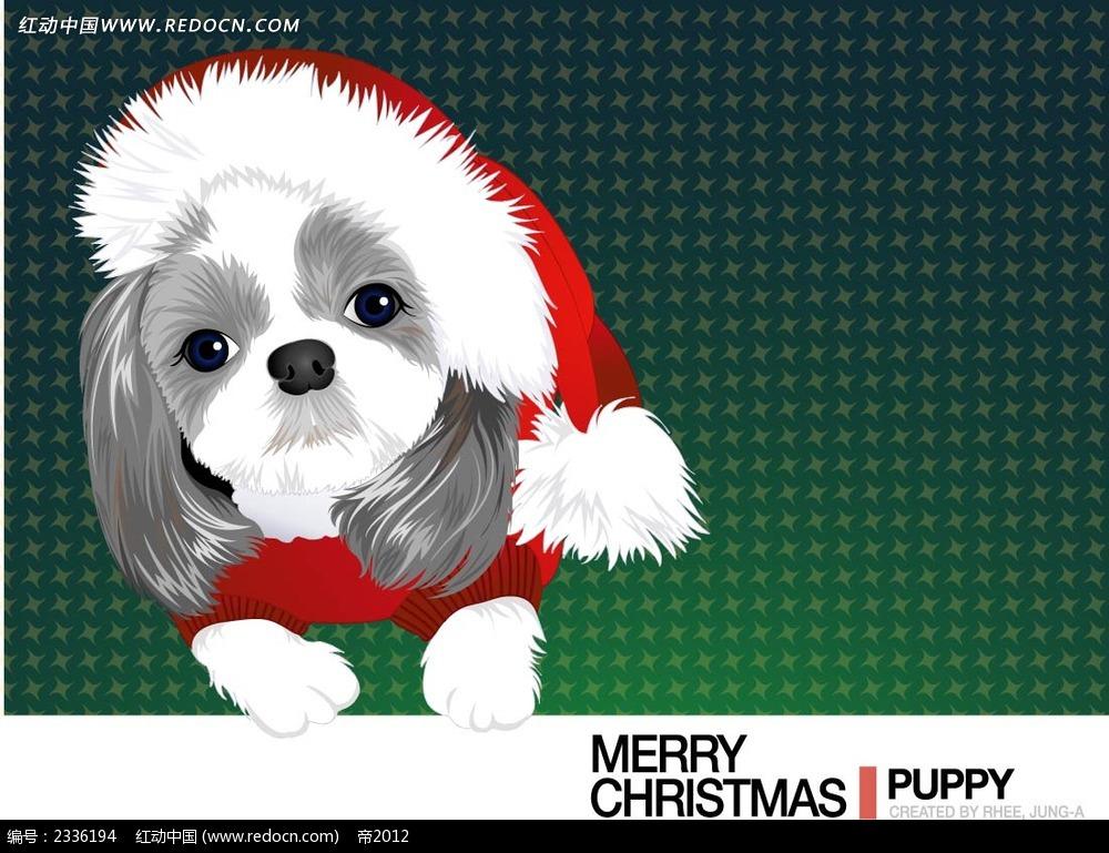圣诞小狗手绘背景画贺卡