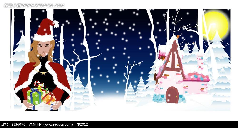 乡村雪景圣诞美女背景手绘画