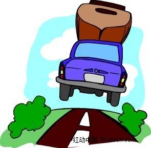 行驶的小车手绘背景画矢量图ai免费下载_交通工具素材