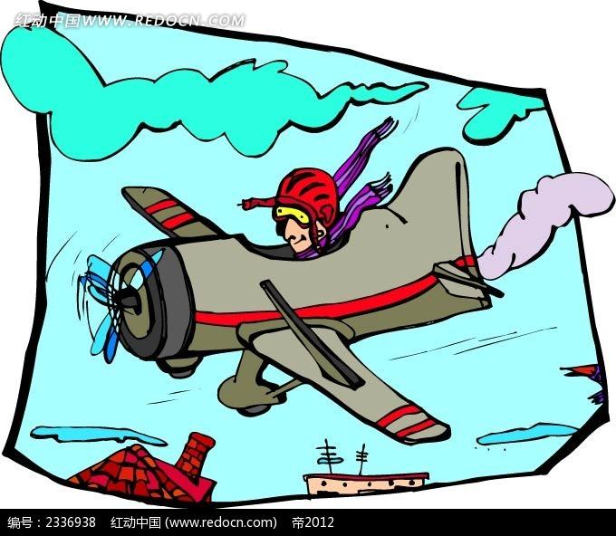 飞行员驾驶飞机手绘背景画