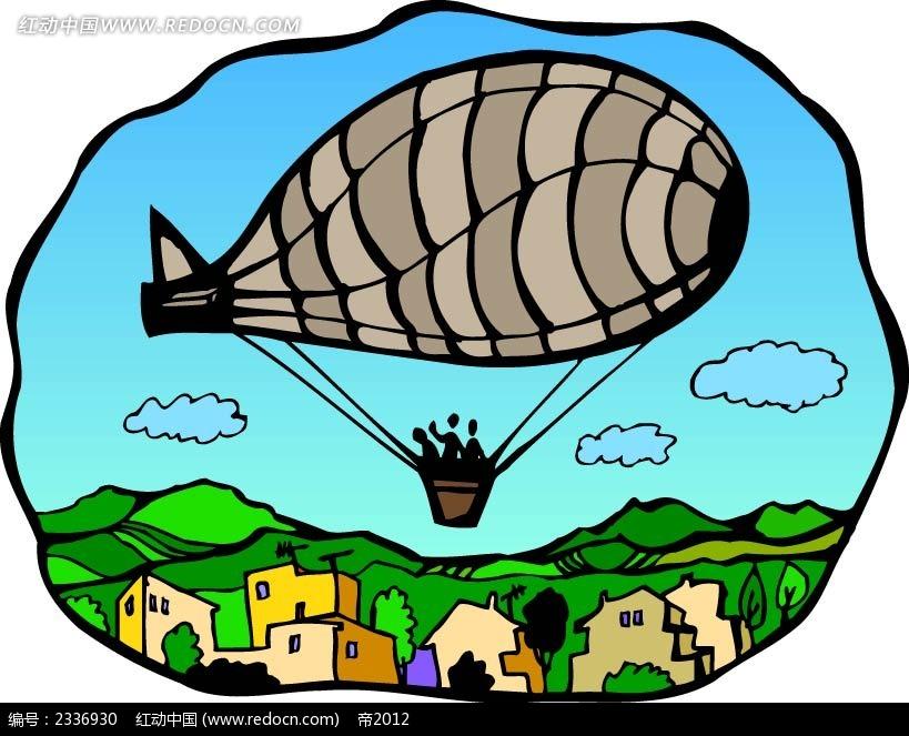 热气球现场背景手绘画
