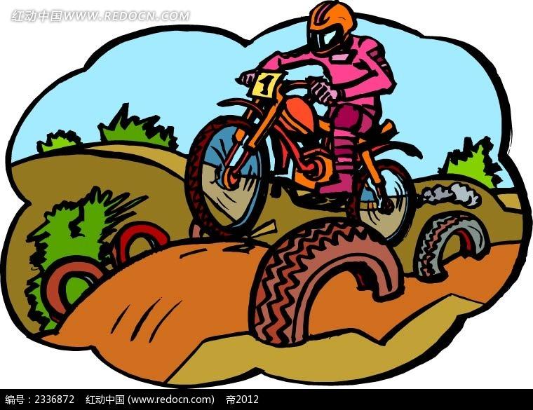 越野摩托车手绘背景图