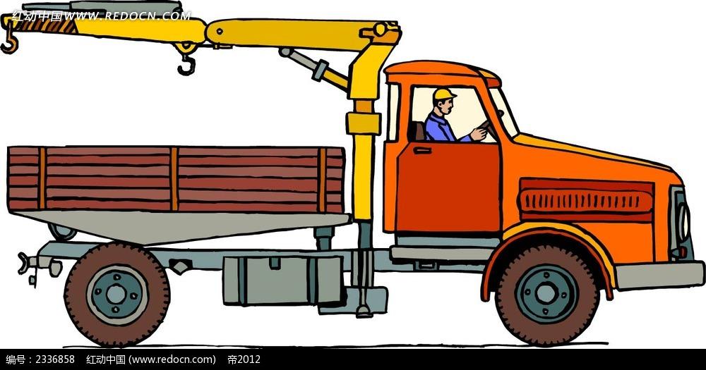 橙色吊车手绘线描图