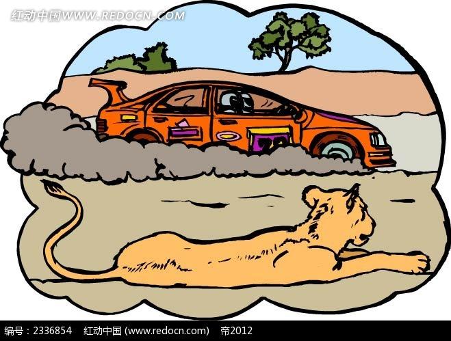 小车狮子手绘背景画  手绘画 线描画 水彩画 手绘图形 黑色边框画