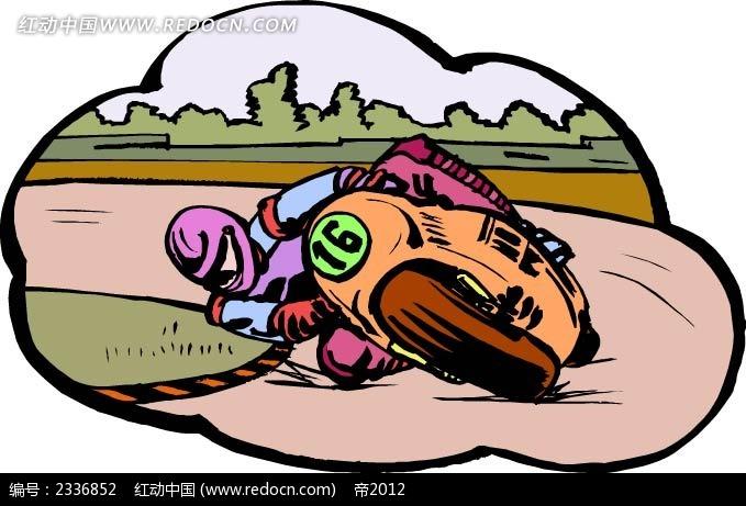 摩托车赛手手绘背景画  手绘画 线描画 水彩画 手绘图形 黑色边框画