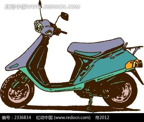 电动摩托车手绘线描画