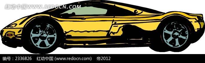 黄色跑车手绘线描图