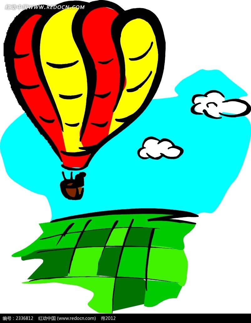 天空中飘行的热气球手绘画