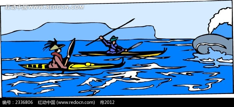 鲸鱼小船海面手绘画