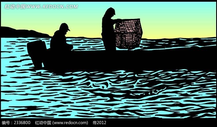 出海打渔剪影背景画  手绘画 线描画 水彩画 手绘图形 黑色边框画 背