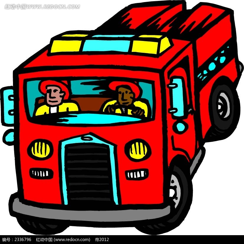 消防车手绘画