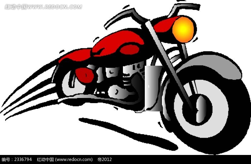 动感摩托车手绘画  手绘画 线描画 水彩画 手绘图形 黑色边框画 背景