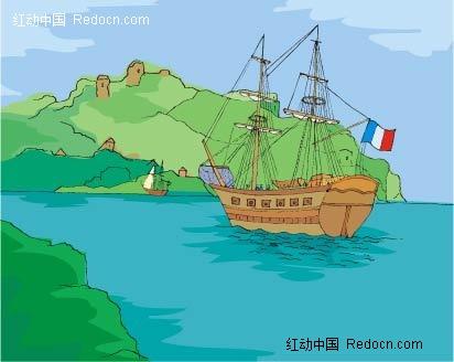远山湖面游轮背景手绘画