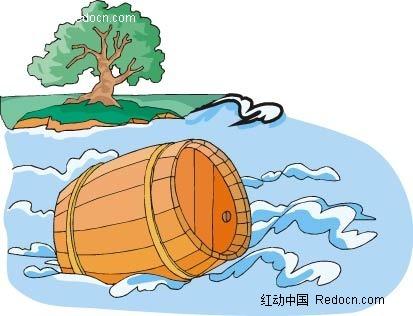 漂流的木桶手绘背景画