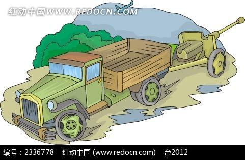 带炮卡车手绘背景画