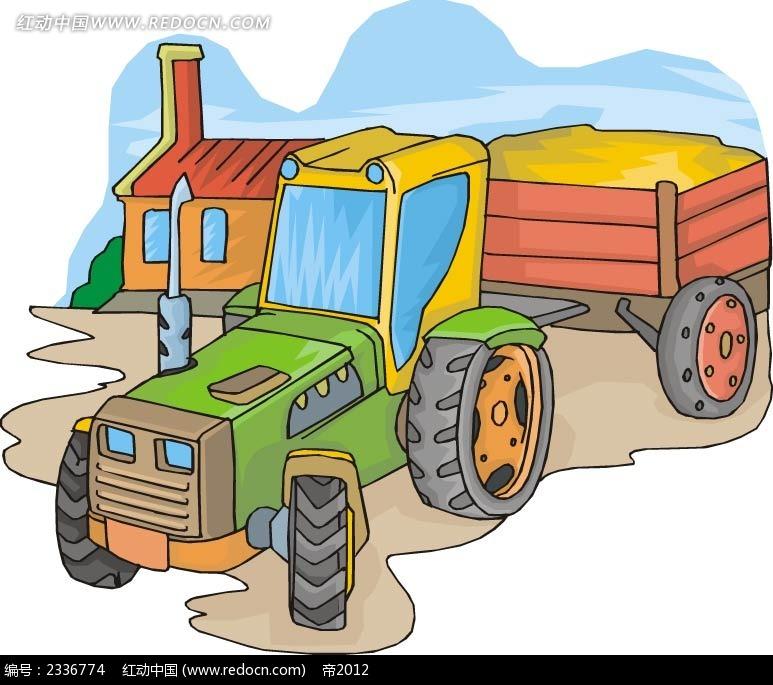 乡村拉火车手绘图