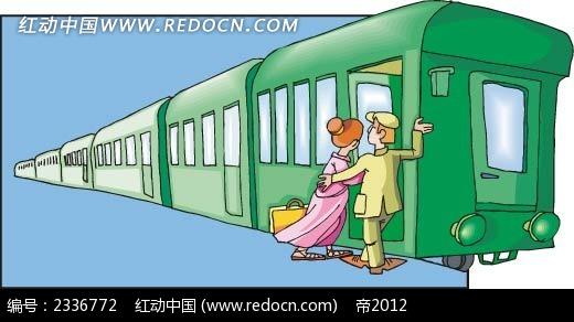 上火车的美女手绘背景画