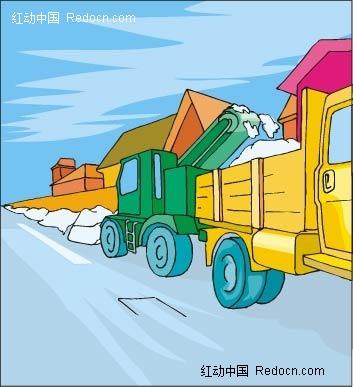 货车手绘背景画